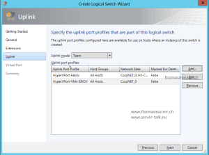 SCVMM Logical Switch Uplink Port Profile