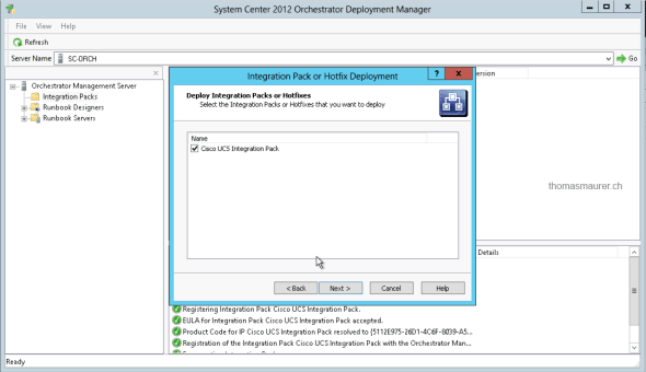 Cisco UCS Integration Pack Orchestator Deployment Manager Deploy