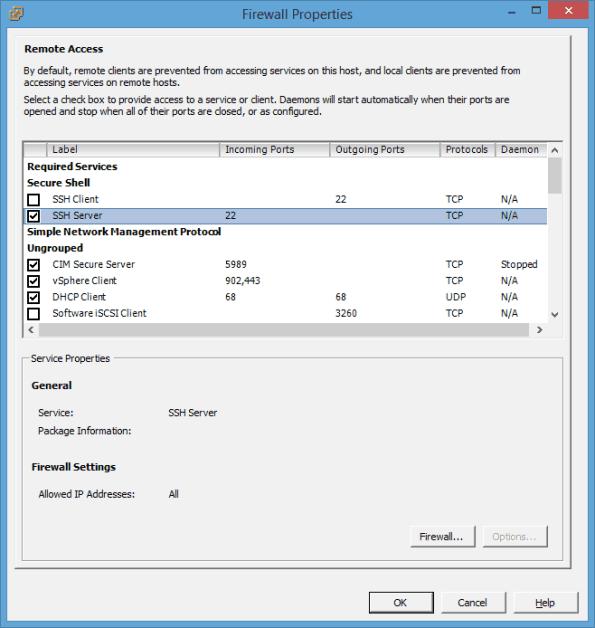 VMware ESXi 5.5 Firewall