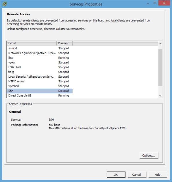VMware ESXi vSphere Client Security Profile Properies