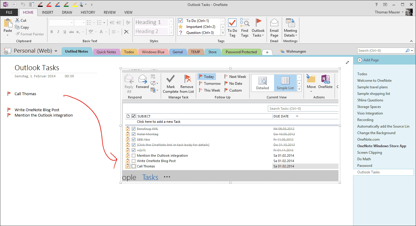 how to use onenote in outlook