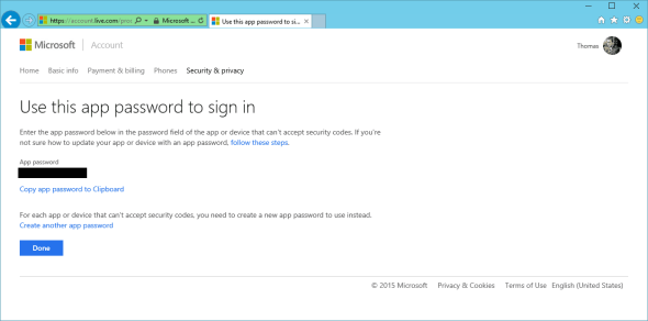 Microsoft Account App Password