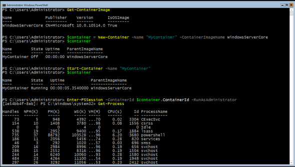 Containers PowerShell