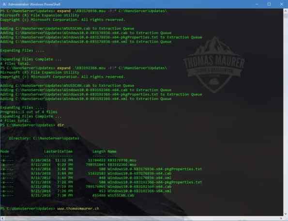 nano Server Epxand MSU Update Files