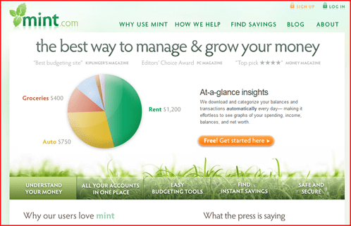 image of Mint.com web site