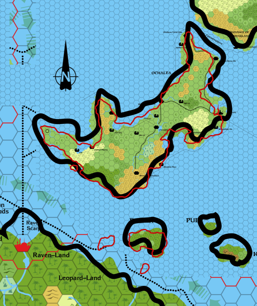 Ochalea's extra island is just visible off its southwest coast, and also two more Pearl Islands next to Dwair