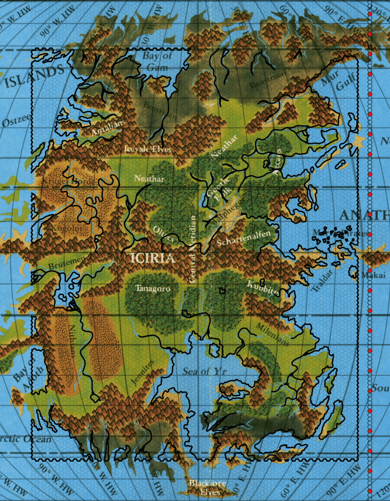 Hollow World Set Iciria hex map overlaid on the same set's world map, with hexes marked off in fives from the equator for counting