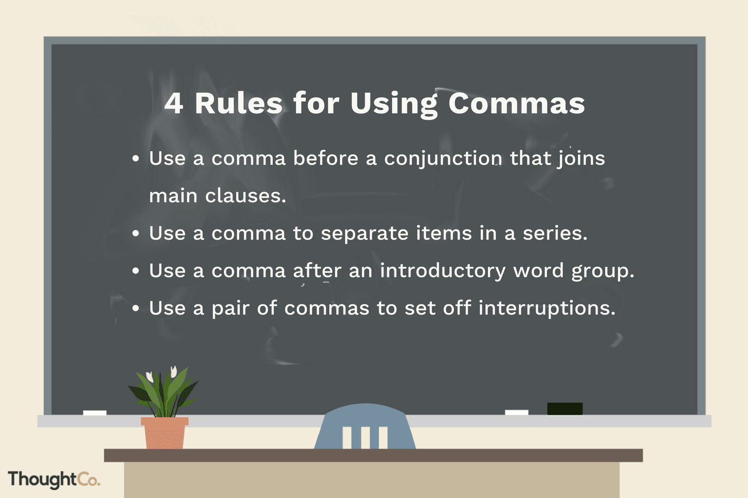 how to use comma