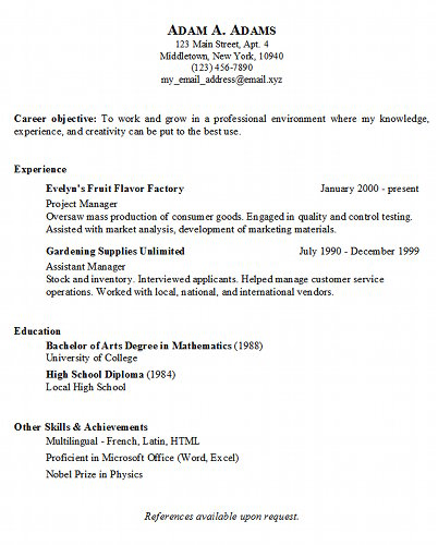 Basic Resume Generator - Middletown Thrall Library - copy and paste resume template