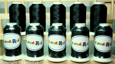 10 Black Spools Of Polyester Machine Embroidery Thread