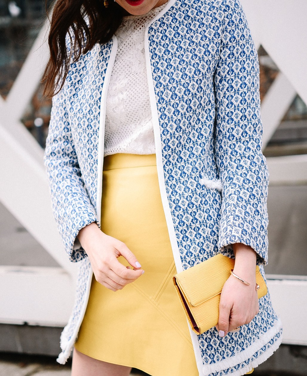 zara-blue-coat-yellow-skirt