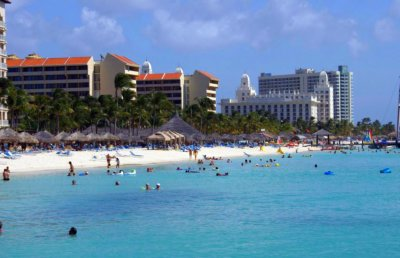 Palm Beach, Aruba from the ocean