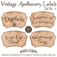 31 Days of Halloween Digital Goodies – Vintage Apothecary Labels Set 3