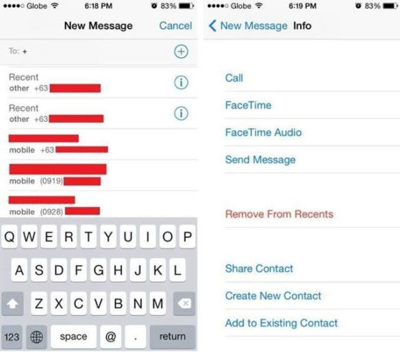 delete recent contacts iPhone, iOS, iOS 7, iOS7, iPhone, remove recent contacts, remove from recents, autofill, remove number from suggestion list