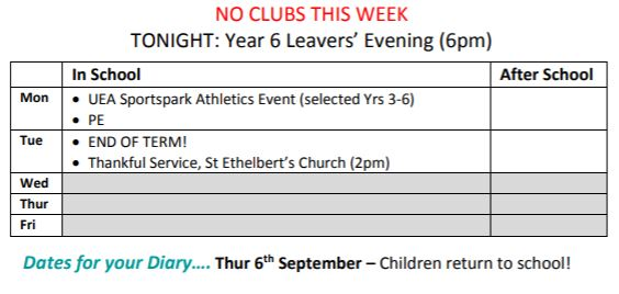 Weekly Timetable \u2013 Monday 23rd to Tuesday 24th July 2018 Thurton
