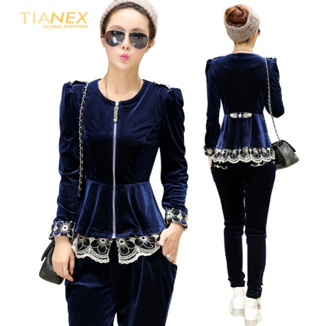great fashion European Russian design Advanced velvet lace hem - women suits pant