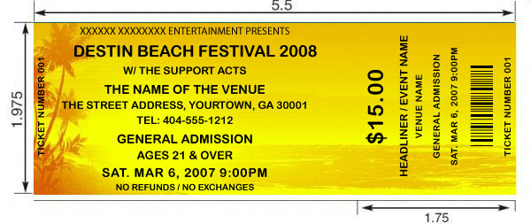 Beach theme tickets Design and print your own custom tickets with - party tickets templates