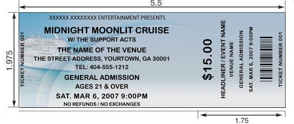 Cruise tickets Design and print your own Cruise or Boating event - print your own tickets template free