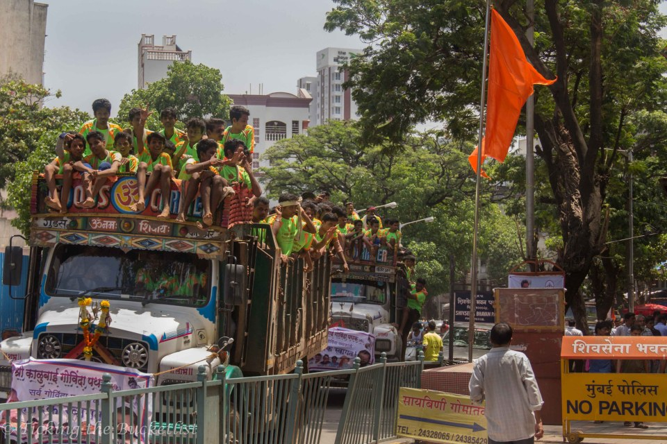 One of the many trucks that were hopping from one dahi handi locale to another