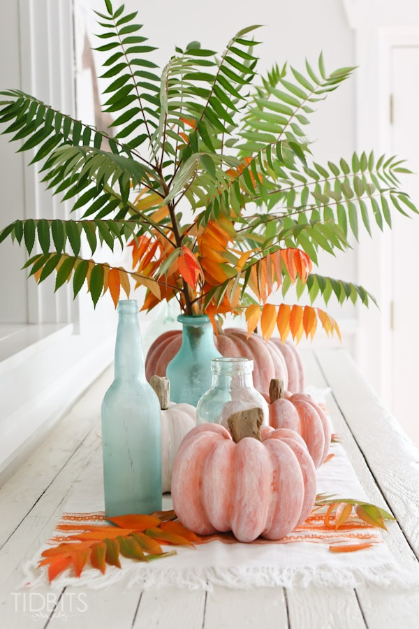 How to white wash a pumpkin and add a driftwood stem - for lovely coastal or shabby chic Fall decor.