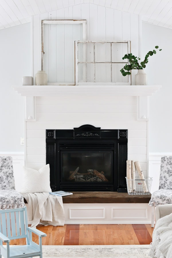 White Living Room and Mantel Decor