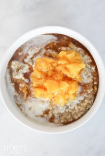 Peaches and Cream Steel Cut Oats with Cinnamon Maple Drizzle