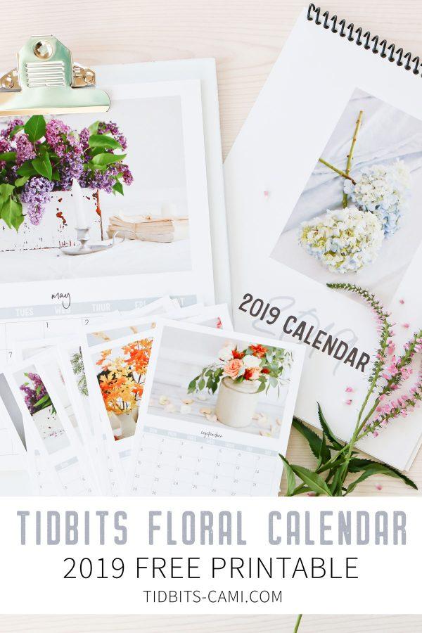 2019 TIDBITS Floral Calendar Free Printable - Tidbits