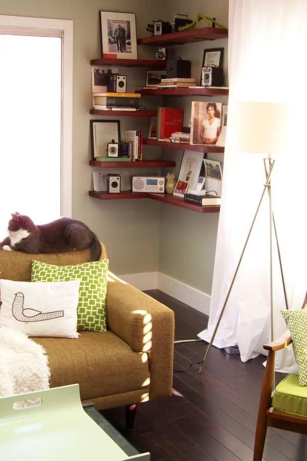 6 Small-Scale Decorating Ideas for Empty Corner Spaces TIDBITS\TWINE - living room corner shelf