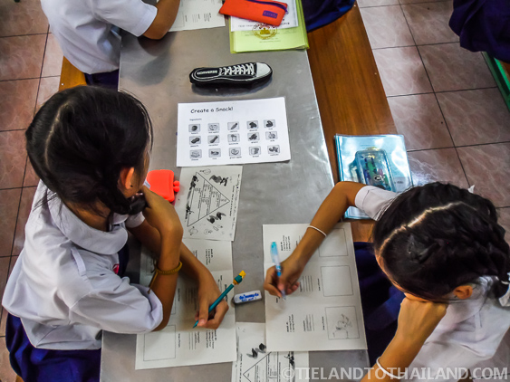 Thai students in a foriegn teachers class room in Chiang Mai, Thailand
