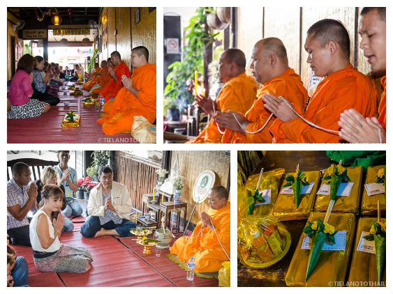 Making Offerings to the Monks at the Buddhist Ceremony