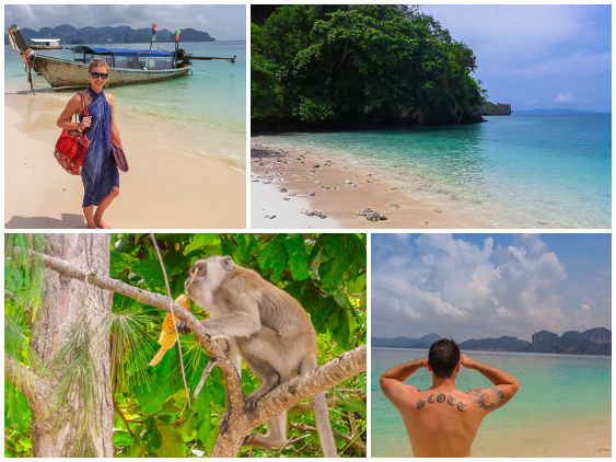 Poda Island Monkey, longtail boat, and foreign tourists