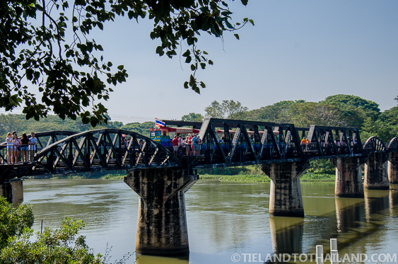 A small tourist train goes back and forh over the Bridge on the River Kwai