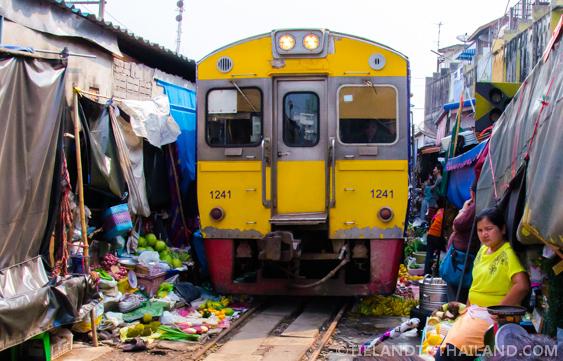 Close up of the Maeklong Railway Market Train