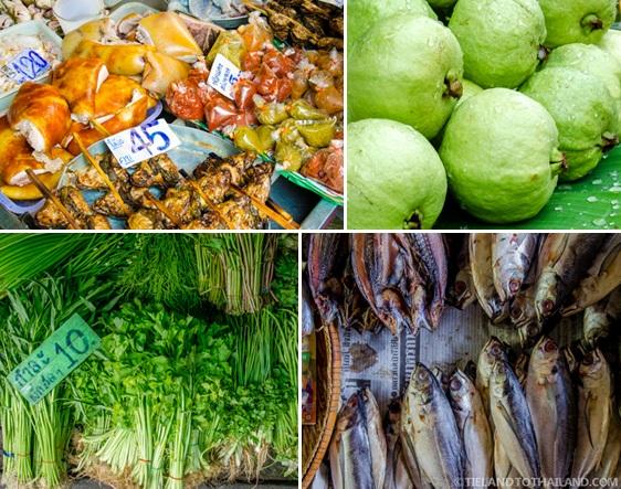 Seafood, meats, fruits, and veggies at Maeklong Railway Market