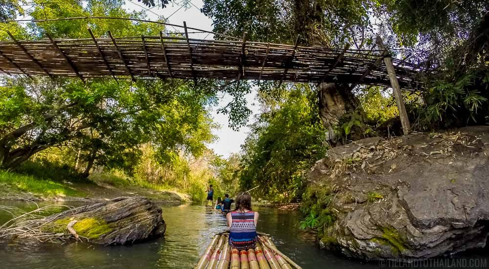Traditional bamboo rafting in Mae Wang, Thailand
