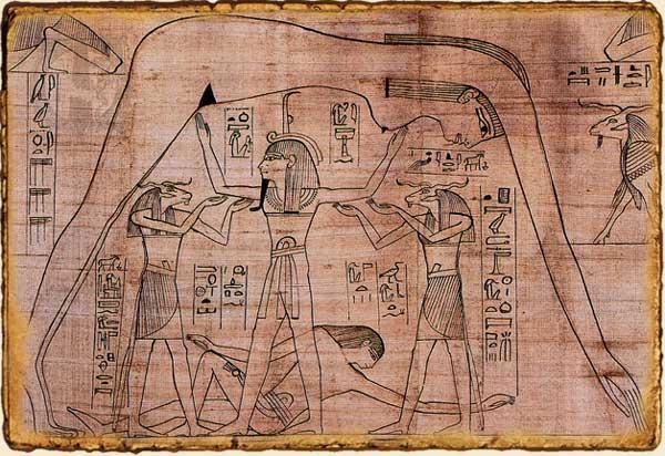 Mitología Egipcia - Representación de Geb, dios de la Tierra y Nut diosa del Cielo