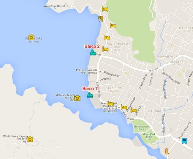 mapa embarcaderos en pokhara