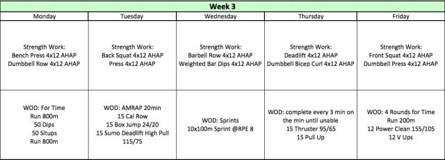 Phase 1: Week 3 Crossfit Plan