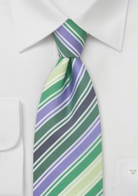 Green and Purple Striped Tie by Cavallieri