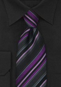 Purple and Gray Striped Tie by Tino Cosma