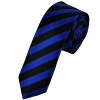 Black & Electric Blue Striped Skinny Tie from Ties Planet UK