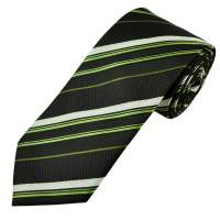 Black, Silver White & Lime Green Striped Men's Tie from ...