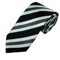 Black, White & Grey Striped Men's Tie from Ties Planet UK
