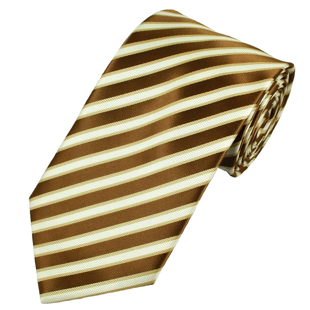 Brown, White & Gold Rib Striped Men's Tie from Ties Planet UK