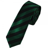 Ties Planet Dark Green & Black Striped Skinny Tie from