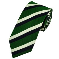 Green, Navy Blue & White Striped Patterned Silk Tie from ...