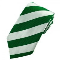 Green & Silver-White Striped Silk Tie from Ties Planet UK