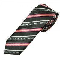 Grey, Silver, Pink & Yellow Striped Men's Skinny Tie from ...