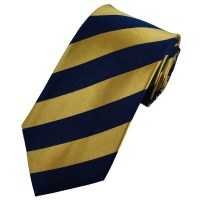Navy Blue & Gold Striped Silk Tie from Ties Planet UK