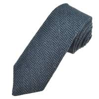 Navy Blue & Grey Herringbone Tweed Wool Tie from Ties ...